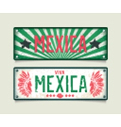 Two grunge car plates Mexica vector