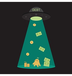 Ufo debt cut or steal your money budget business vector