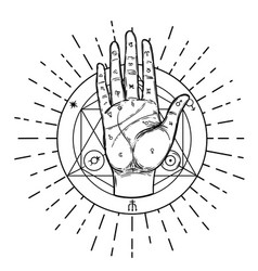 Vintage hands hand drawn sketchy with mystic vector