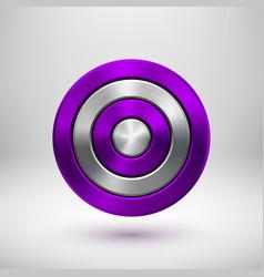 Violet technology circle metal badge vector