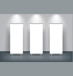 white blank vertical roll up banner vector image