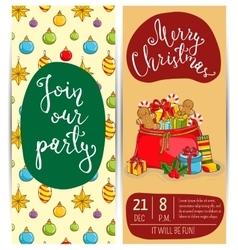 Bright Cartoon Invitation on Christmas Fun Party vector image vector image