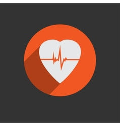 Defibrillator heart icon isolated on red vector image vector image