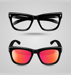 Eye glasses set Sunglasses and reading eyeglasses vector image