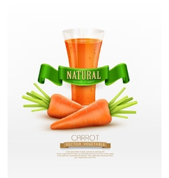 glass of carrot juice and two carrots isolated on vector image