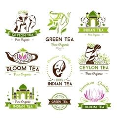 Green ceylon and bloom tea emblems vector