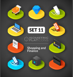 Isometric flat icons set 11 vector image vector image