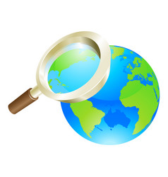 Magnifying glass world earth globe concept vector