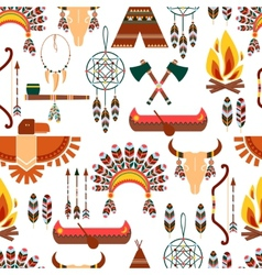 Seamless Pattern American Tribal Native Symbols vector image vector image