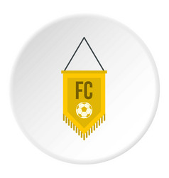 yellow pennant with soccer ball icon circle vector image