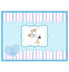 Cartoon stork with baby card vector image vector image