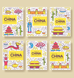 china brochure cards thin line set country vector image