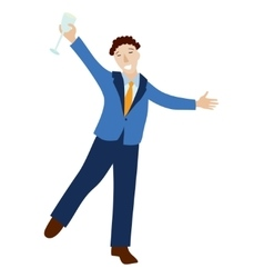 Happy businessman in formal suit with champagne vector image