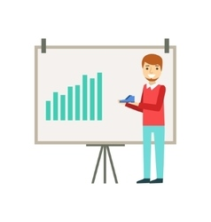 Marketing manager doing presentation with chart vector