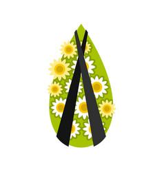 memorial wreath icon flat style vector image