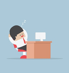 Tired businessman falls asleep at his desk vector image