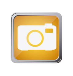 button with analog camera with background yellow vector image