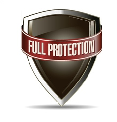 Full protection silver and brown shield vector image