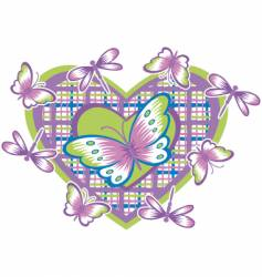 heart and butterflies vector image vector image