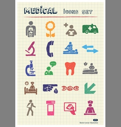 Medical web icons set drawn by color pencils vector image vector image