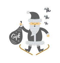 santa claus on ski with gift bag screaming hohoho vector image vector image