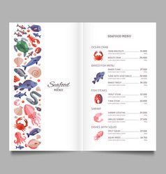 seafood restaurant menu template vector image