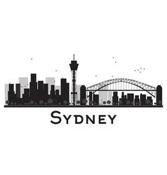 Sydney City skyline black and white silhouette vector image