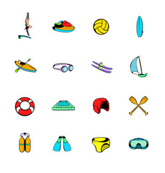 water sport icons set cartoon vector image