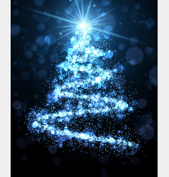 blue background with christmas tree vector image vector image