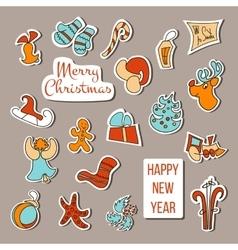 Christmas stickers Christmas set poster vector image