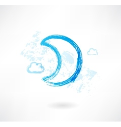 Moon grunge icon vector image vector image