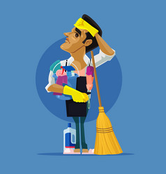 sad tired man character cleaning house vector image