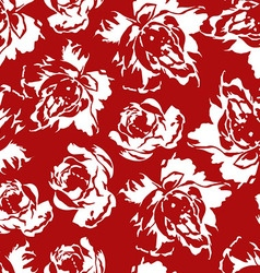 Seamless floral pattern of white roses on a red vector image vector image