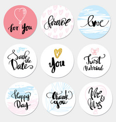 set stickers wedding and love vector image vector image