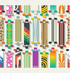 Various Longboards Seamless Pattern vector image