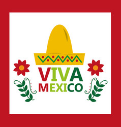 viva mexico hat tradition culture flower vector image
