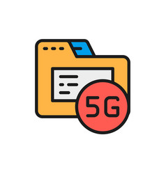 5g internet database flat color line icon vector image