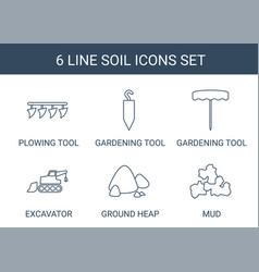 6 soil icons vector