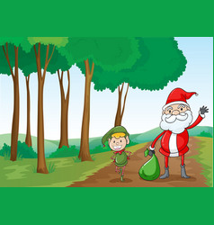 A boy and a santa claus vector