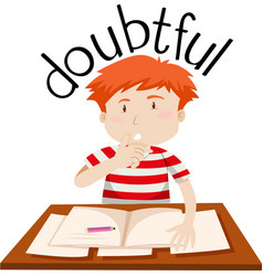 A doubtful boy on white background vector