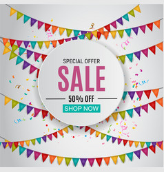 abstract designs sale banner with balloons and vector image