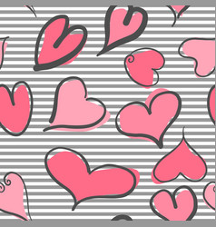 abstract seamless pattern with hearts and striped vector image