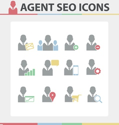 Agent SEO Icons set vector