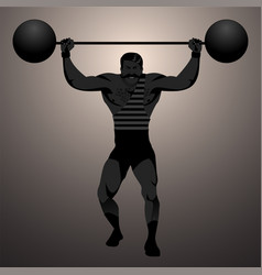 backlit strongman dressed in old way vector image