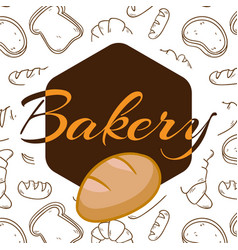 Bakery polygon logo white background vector