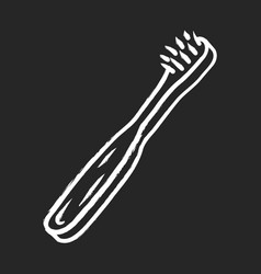 Bamboo toothbrush chalk icon vector