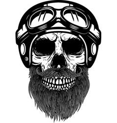 Bearded skull in racer helmet design element vector