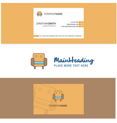 beautiful sofa logo and business card vertical vector image