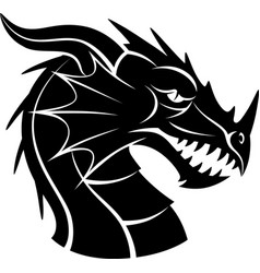 black and white dragon head vector image