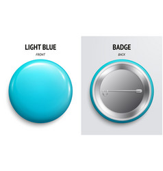 blank light blue glossy badge or button vector image
